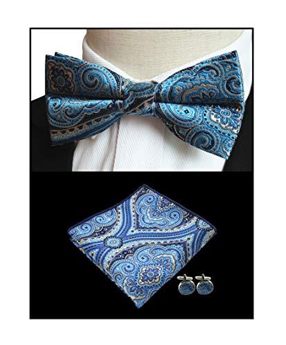 Fancy Pocket Silk - Men's Indigo Blue Floal Silk Bowtie Pocket Square Set Cravat Hanky Fancy BF Gift