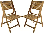 My Home My Living EC-20-0030 Acacia Wood Folding Patio Side Chair, Set/2
