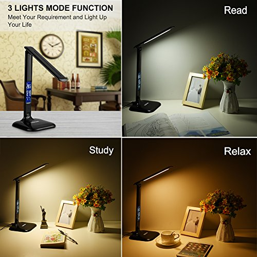 LEDGLE Desk Lamp, Table Lamp 8W LED Desk Lamp LCD Screen, USB Charging Port, 3 Lighting Mode, 5-Level Dimmer, Touch Control, Built-in Clock, Calendar, Thermometer-Black