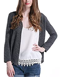 Letitia Women's Long Sleeves Open Front Back Hollow Lace Cardigan (S)
