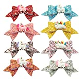 Unicorn Dovetail Hair Bows Clips for Girls Sequins Glitter Hairpins Pack of 8(Design 1-8pcs)