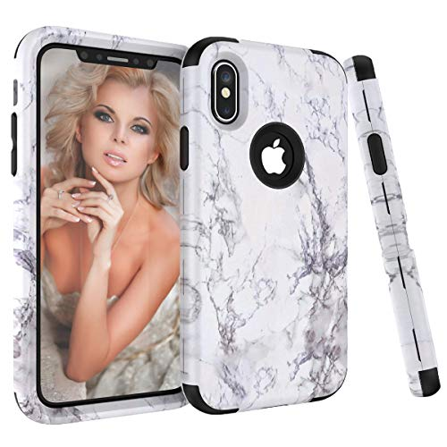 iPhone X Case, iPhone 10 Case, NOKEA [Marble Pattern] Three Layer Hybrid Heavy Duty Shockproof Full-Body Protective Bumper Cover Soft Silicone Combo Hard PC Case for iPhone X (Black)