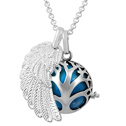EUDORA Harmony Ball Sterling Silver Plated Baby Shower Pendant Family Tree Angel Wing Locket Soft Chime Shperes Necklace (Locket Angel Prayer)