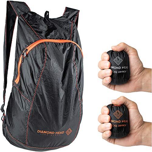 Diamond Head Equipment - Pali 20L Daypack - Ultralight Packable Backpack (Black/Orange)