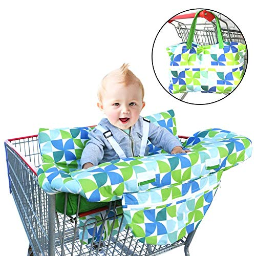 (2-in-1 Shopping Cart Cover,Multipurpose Chair Cover with Big Space,High Chair Cover with High-Grade Polyester Polka Dot Fabric Shopping Cart Cover for Baby)