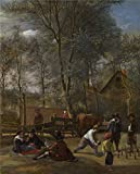 ziggy marley organics - Oil Painting 'Jan Steen Skittle Players Outside An Inn' 18 x 22 inch / 46 x 57 cm , on High Definition HD canvas prints is for Gifts And Dining Room, Laundry Room And Living Room Decoration