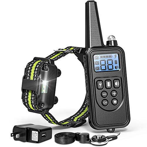 FunniPets Dog Training Collar, 2600ft Range Dog Shock Collar with Remote Waterproof Electronic Dog Collar for Medium and Large Dogs with 4 Training Modes Light Static Shock Vibration Beep ()