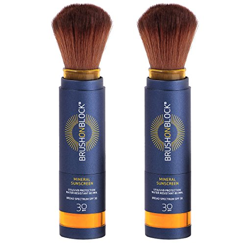 Brush on Block Mineral Sunscreen Powder, Broad Spectrum SPF30 (Powder Dispensing Brush)