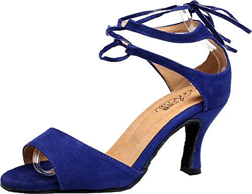 Abby Aq-5012 Femmes Talon Personnalisé Open-toe Simple Chic Cheville Bretelles Douce Seule Toile De Danse-chaussures Bleu