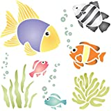 """TROPICAL FISH STENCIL (size 8.5""""w x 8.5""""h) Reusable Stencils for Painting - Best Quality Scrapbooking Wall Art Décor Ideas - Use on Walls, Floors, Fabrics, Glass, Wood, Posters, and More…"""