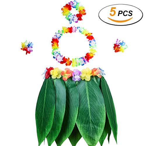 Gooidea Elastic Ti Leaf Hula Skirt with Hibiscus Flower Leis 5pcs Pack Luau Party Supplies Hawaiian Costume Set Amazing Party Favors Decorations -