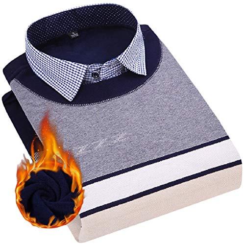 WillingStart Mens Lapel Collar Velvet Premium Fake Two Thicken Autumn Longshirt AS3 3XL by willwinMen