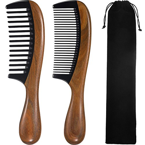 TecUnite 2 Pieces Hair Combs, Wide Tooth Hair Comb and Fine Tooth Hair Brush, Green Sandalwood Buffalo Horn Combs for Women, Men and Girls