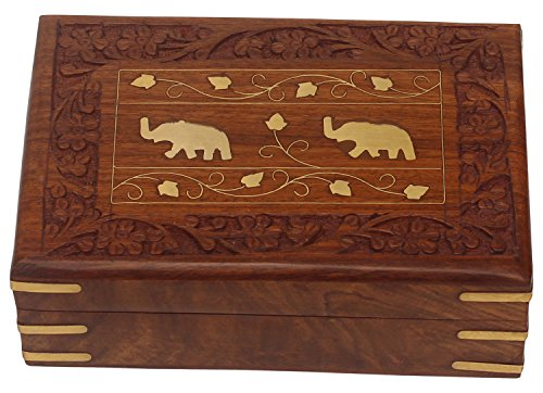 97-Large-Handmade-Wooden-Jewelry-Keepsake-Box-with-Hand-Carved-Floral-Motifs-Brass-Inlay-Work-Natural-Rosewood-by-SouvNear