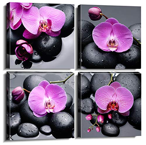 "sunfrower Orchid Framed Canvas Prints Wall Art for SPA Home Decor 4 Piece Zen Purple Foral Flowers Black Massage Stone Paintings Pictures Modern Artwork Ready to Hang Set of 4pcs 12"" x 12"" Panel"