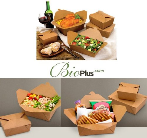 Pak Natural - Fold-Pak Bio-Plus Earth 03BPEARTHM Natural Kraft Paper Carry-Out/To-Go Container, 7-3/4