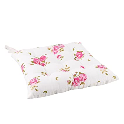 ea933c6e13ba3 Vintage Style Floral Seat Pad - Cute Retro Style Rose Floral Print Garden  Chair Cushion with Contrasting ...