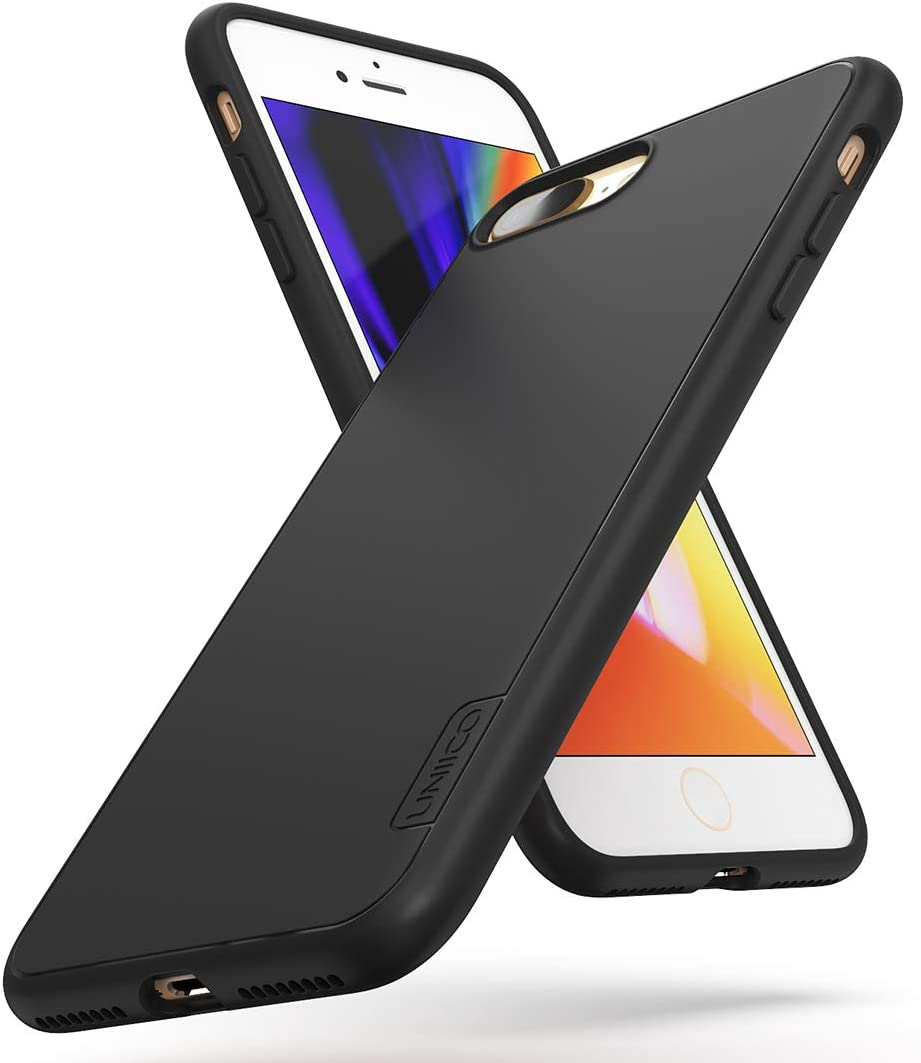 UNIICO Case for Apple iPhone 8 Plus, Military Grade Drop Tested, Dual-Layer Shockproof, Black Matte Cases for iPhone 7 Plus, 5.5-inch(Black)