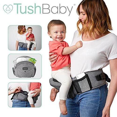TushBaby The Only Safety Certified Hip Seat Baby Carrier - As Seen On Shark Tank - Adjustable, Machine Washable, Ergonomic Child + Infant + Toddler Carrier, Safe Ultra-Comfortable Waist Carrier (Grey)