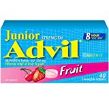 Junior Strength Advil (40 Count, Fruit Flavour) Ibuprofen Chewable Tablets Fever Reducer/Pain reliever