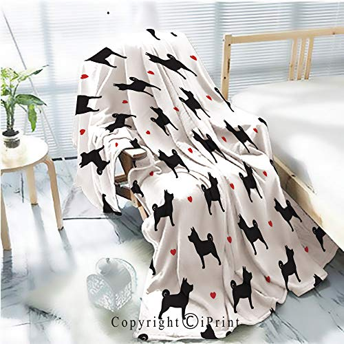 Printed Throw Blanket Smooth and Soft Blanket,Dog seamless pattern Shiba Inu Dog Breed vector wallpaper background isolated For Sofa Chair Bed Office Travelling Camping,Kid Baby,W31.5