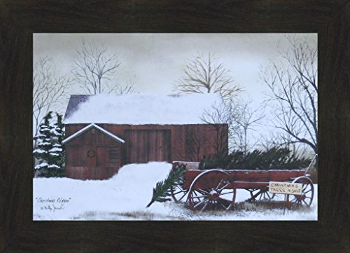 Christmas Wagon by Billy Jacobs 16x22 Trees For Sale Red Barn Winter Snow Primitive Folk Art Print Framed Picture (2