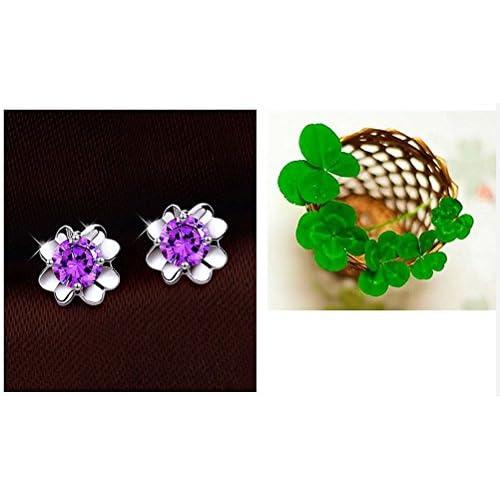 ad9c78da5f49 CAOLATOR Pendientes Flores Pendientes Mujer de Moda Cristal Decoración del  Partido Aretes Para el Accesorios de