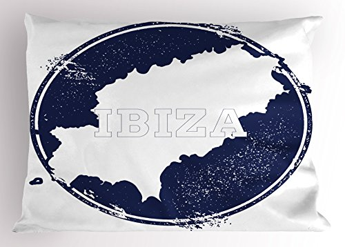 Lunarable Ibiza Pillow Sham, Grunge Style Island Name and Map Southern Spain Vacation Destination Exotic, Decorative Standard Size Printed Pillowcase, 26 X 20 Inches, Dark Blue and White by Lunarable