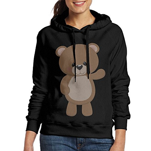 SmallTing WXF Women's Teddy Bear Waving Large Fashion Walk Black Hoodie L (Ucla Teddy Bear)