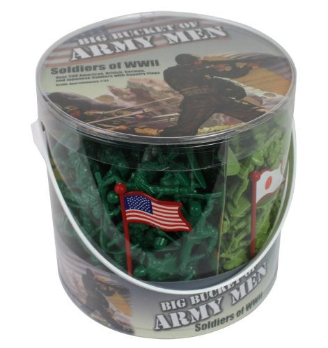 Army Men Action Figures -soldiers of WWII- Big Bucket of Army Soldiers - Over 200 Piece Set