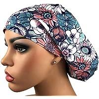 Womens Surgical Scrub Hat Grey Floral Scrub Cap