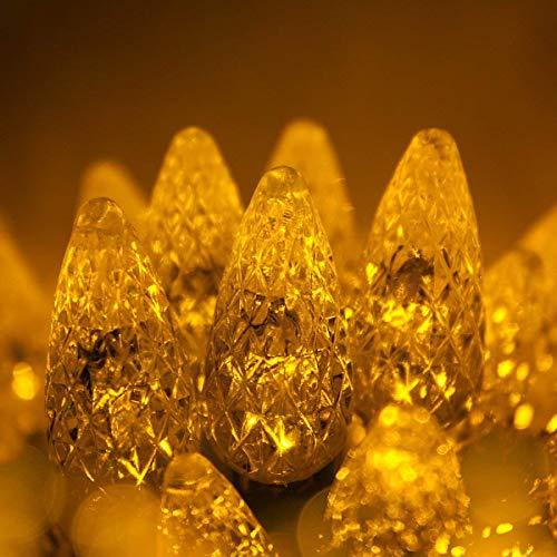 70 C6 Gold LED Christmas Lights Indoor-Outdoor Christmas String Lights, 24 Ft, Gold Christmas Lights LED String Lights for Bedroom Dorm Lights