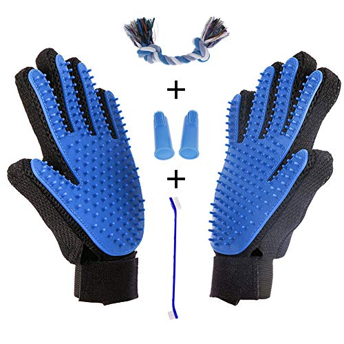 AUBBC Pet Grooming Glove 5 PCS, Upgraded 259 Soft Pet Hair Remover with 1 Dual Headed Toothbrush, 2 Finger Toothbrushes, 1 Rope Toy, Deshedding Tool for Cats Dogs