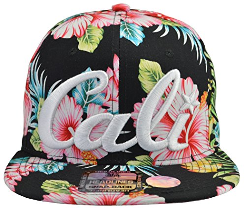 Incrediblegifts Cali Flower Hat White Embroidered Snap-Back (100% - Flower Hats Snapback