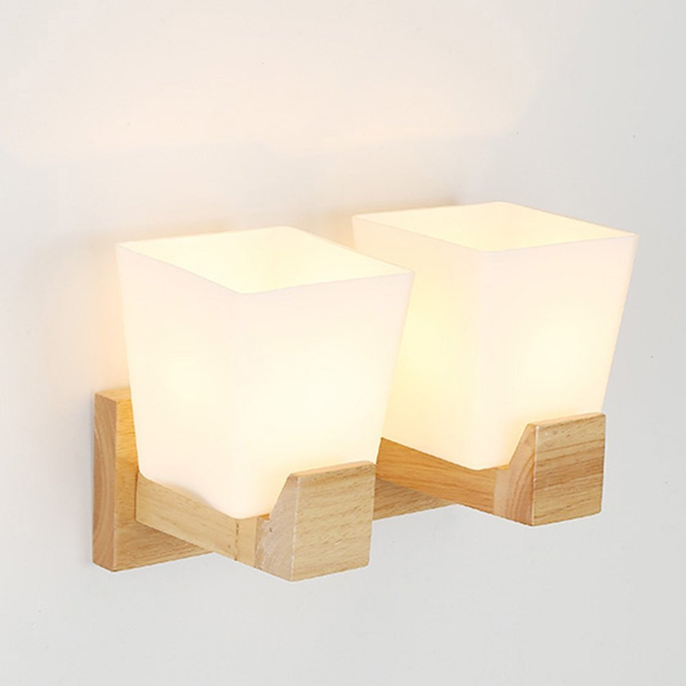 HOMEE Wall lamp- nordic simple modern led wood art wall lamp bedroom bedside corridor aisle wall lamp (style optional) --wall lighting decorations,2