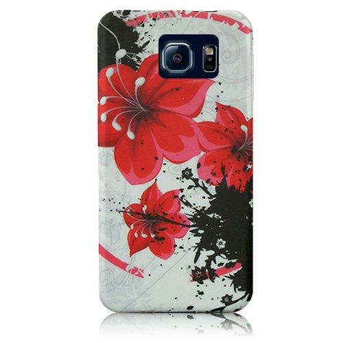 Xtra-Funky Exclusivo silicona suave Remolino floral de la flor y las mariposas de color rosa / negro caja Para Samsung Galaxy S6 - Diseño B7 B18