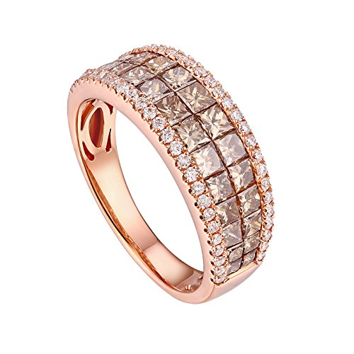 Prism Jewel 2.20CT Princess Brown Diamond & G-H/SI1 Natural Diamond Band, 14k Rose Gold, Size 7