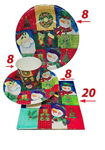 - Christmas Party Supplies Set, Plates, Cups, Napkins, - 8 Plates 9 inch, 8 Plates 7 inch, 8 Cups 9 OZ, 20 Napkins, By 4E's Novelty,