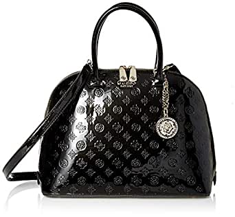 GUESS Peony Shine Large Dome Satchel, Black