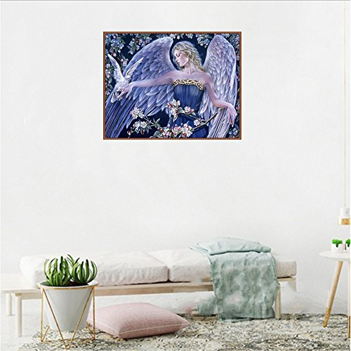 Cyhulu 5D Full Diamond Painting, Fancy Beautiful 5D Embroidery Paintings Rhinestone Pasted DIY Canvas Painting Cross Stitch, Angel by Cyhulu (Image #1)