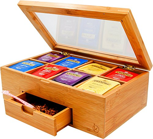 Ecbanli Bamboo Tea Box with Small Drawer, Taller Size Tea Bag Storage Organizer, Free Tea Squeezer Included ()