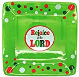 Rejoice in the Lord 6'' X 6'' Ceramic Tidbit Tray - Green with Dots