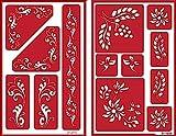 Over 'n' Over Reusable Self-Stick Etching Stencil for Glass (or Stamping) - Bundle of Two Sets - Fleur de Lis & Laurels