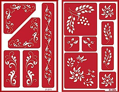Over 'n' Over Reusable Self-Stick Etching Stencil for Glass (or Stamping) - Bundle of Two Sets - Fleur de Lis & Laurels by Over n Over