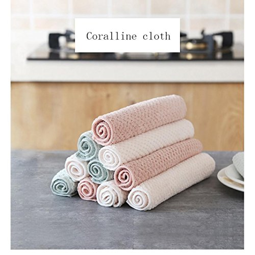 Clearance Sale!DEESEE(TM)Nonstick Oil Coral Velvet Hanging Hand Towels Kitchen Dishclout (Pink) by DEESEE(TM)_Home (Image #2)