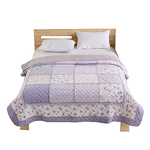 Alicemall Country Bedding Pastoral Style Cotton Quilt, Fresh Purple Patchwork Summer Quilts/Blanket, Floral Pattern Bedspreads, 59 inch by 79 inch
