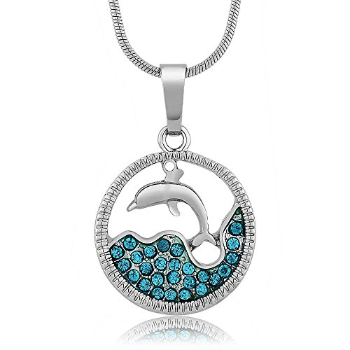 Gem Stone King Stunning Dolphin and Sea in a Circle with Blue Crystals Pendant 18inches Chain