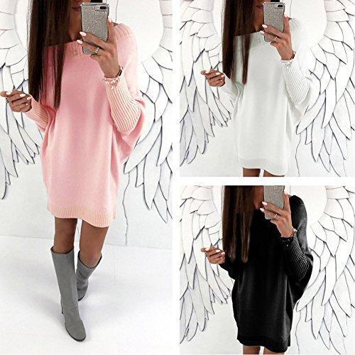 Mini Dress Maglia Lunga Abito Vestito Maglione Collare Casuale Donna Vestiti Invernali Eleganti Pullover Nero A Manica Obliquo wzwv6npx8