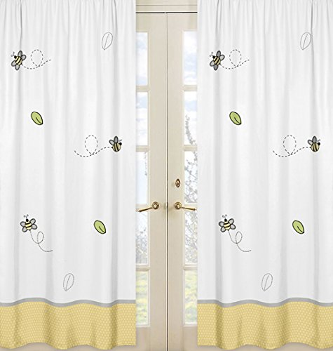 Yellow and White Collection Window Treatment Panels for Honey Bumble Bee Collection - Set of 2