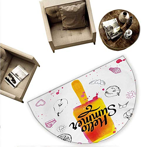 - Ice Cream Half Round Door mats Hello Summer Motivational Quote with Lime Heart Sun Cake Color Splashes Image Bathroom Mat H 55.1